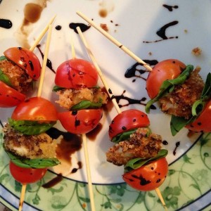 Fried Provolone-Tomato Skewers with Balsamic Reduction