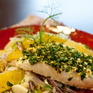 Roasted Halibut with Orange Gremolata