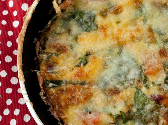 Anytime Frittata with Swiss Chard and Tomatoes