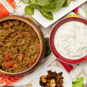 Warm Curried Lentil Salad with Cucumber-Yogurt Dressing and Garlic Chips